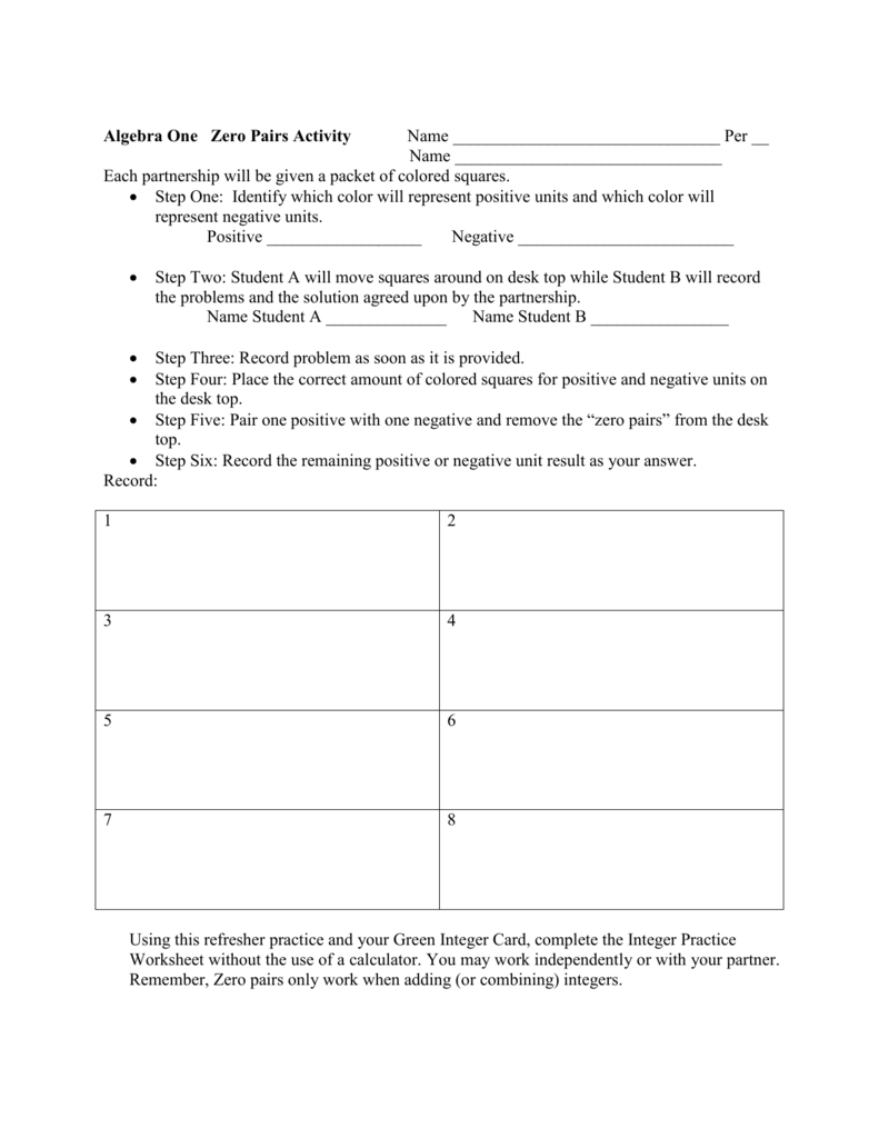 Algebra One Zero Pairs Activity Name Per __