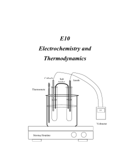 Experiment 11 Electrochemical Cells and Thermodynamics