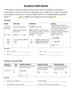 Accuplacer Math Review **This packet is meant as a rough