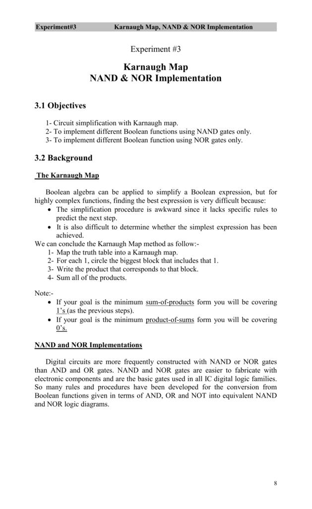 experiment 3 karnaugh map, nand \u0026 nor implementation