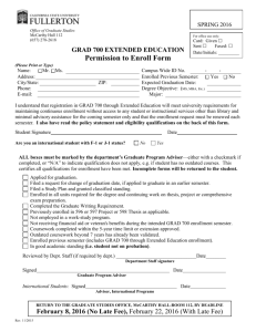 GRAD 700 Permission to Enroll Form – Spring 2016