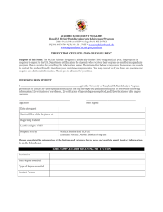 Verification of Graduation or Enrollment Form