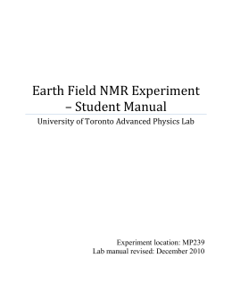 Earth Field NMR Experiment - Department of Physics
