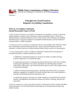 Guidelines: Principles for Good Practices: Regional Accrediting