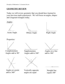 Basic geometry review sheet