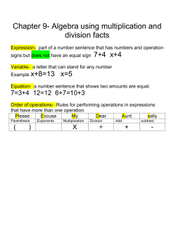 Chapter 9- Algebra using multiplication and division facts