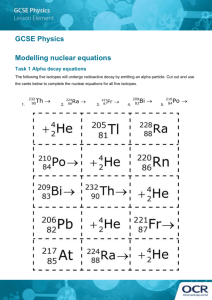 GCSE Physics Modelling Nuclear Equations Lesson Element