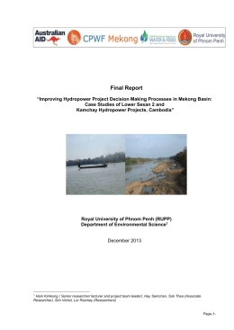 Improving Hydropower Project Decision Making