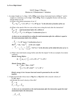 Worksheet - Momentum in 2-Dimensions 1 Solution