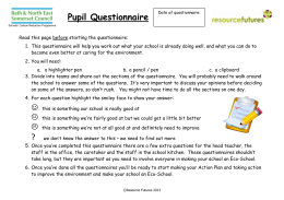 Badock`s Wood Primary School Eco Schools Waste Questionnaire