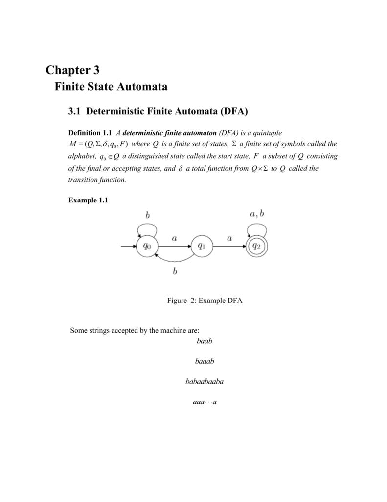 Chapter 3 Finite State Automata 31 Deterministic Finite Automata