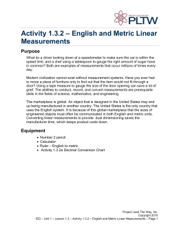 Activity 1.3.2: English & Metric Lineare Measurements