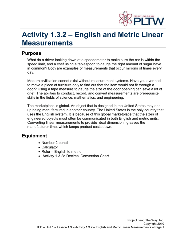 Activity 132 English Metric Lineare Measurements
