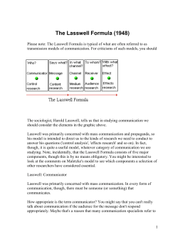 The Lasswell Formula