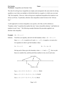 Worksheet: Inequalities and Absolute Value