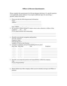 Officer & Director Questionnaire