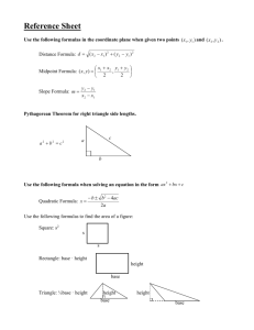 Reference Sheet Use the following formulas in the coordinate plane
