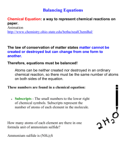Balancing Equations Notes