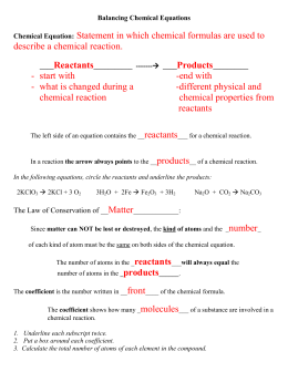 Chemical Equations Gizmo