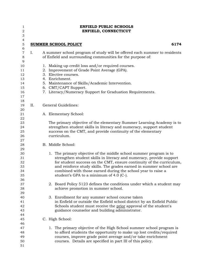 Summer School Policy 6174