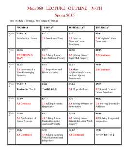 Math 060 LECTURE OUTLINE M-TH Spring 2015 This schedule is