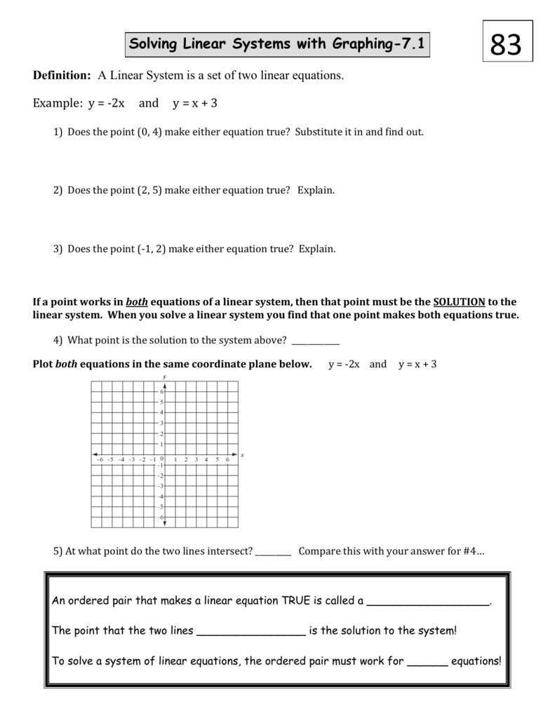 worksheet Solving Linear Systems By Graphing Worksheet solving linear systems with graphing 7