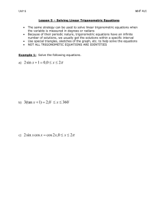 Lesson 5 – Solving Linear Trigonometric Equations