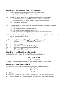 Free Energy Dependence Upon Concentration