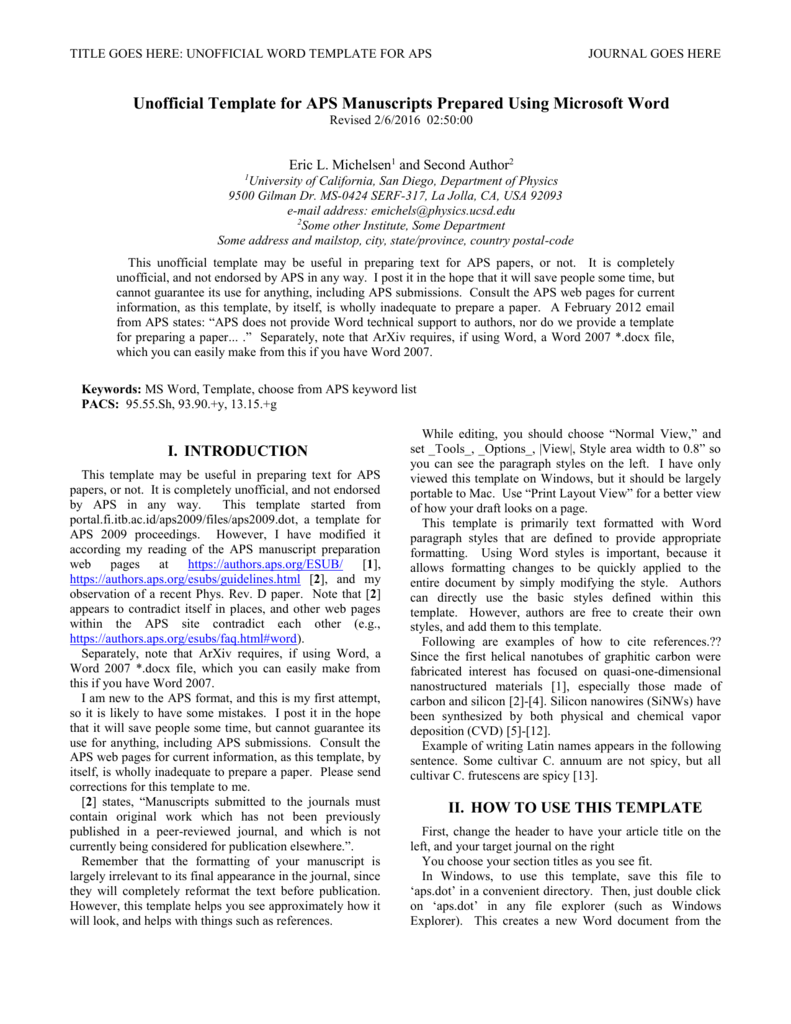 Word Template Journal Article Aps Dot Ucsd Department Of Physics