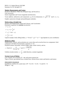 PHYS 1111 Summary for Ch 5 through 8