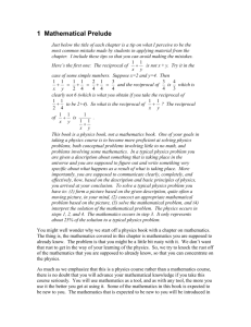 1 Mathematical Prelude - University of Virginia