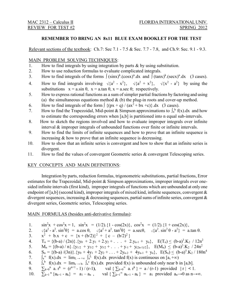 Review for Test #2