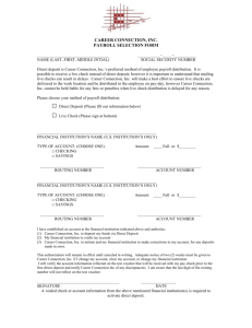 Direct Deposit / Payroll Selection Form