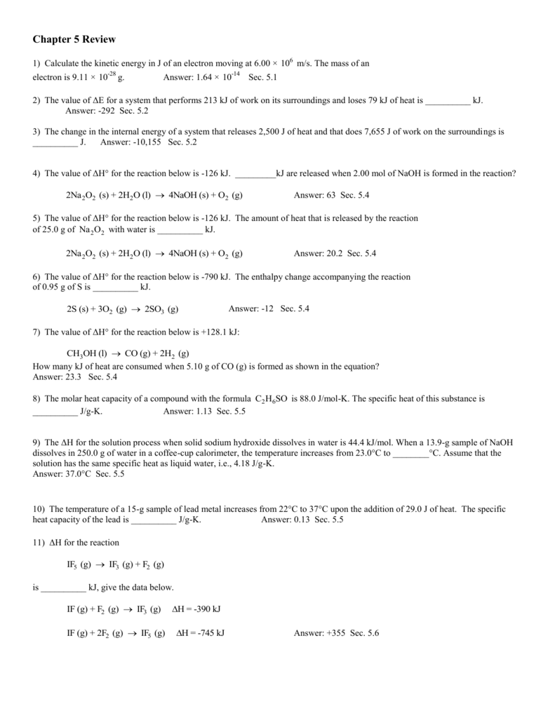 Ch. 5 & 19 Review Sheets and Answers