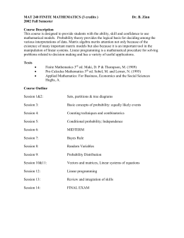 MAT 240 FINITE MATHEMATICS (3 credits )