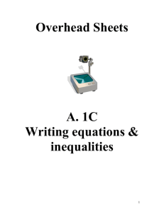 Overhead Sheets Writing Equations and Inequalities
