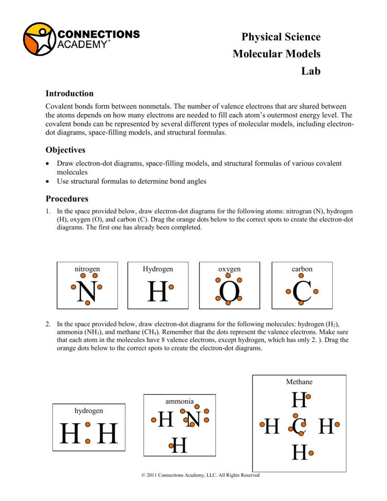 physical science molecular models lab introduction covalent bonds form  between nonmetals  the number of valence electrons that are shared between  the atoms