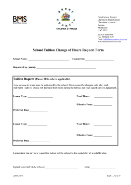 Form P - school additional tuition request