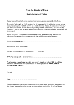 Musical Instrument tuition application form