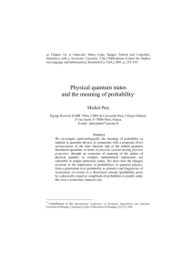 Quantum Physics and Probability - Hal-SHS