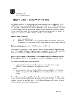Eligible Child Tuition Waiver Form