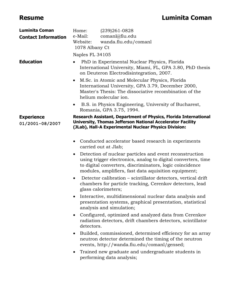 Luminita Coman Resume Doc File Florida International University