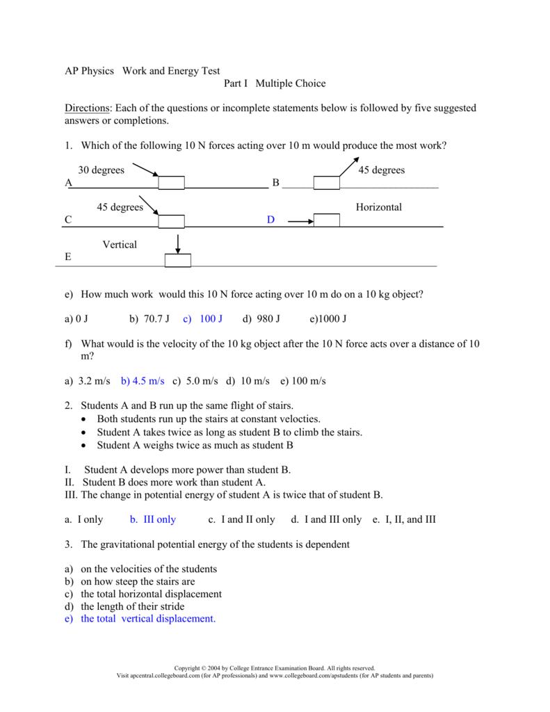 AP Physics Work and Energy Test