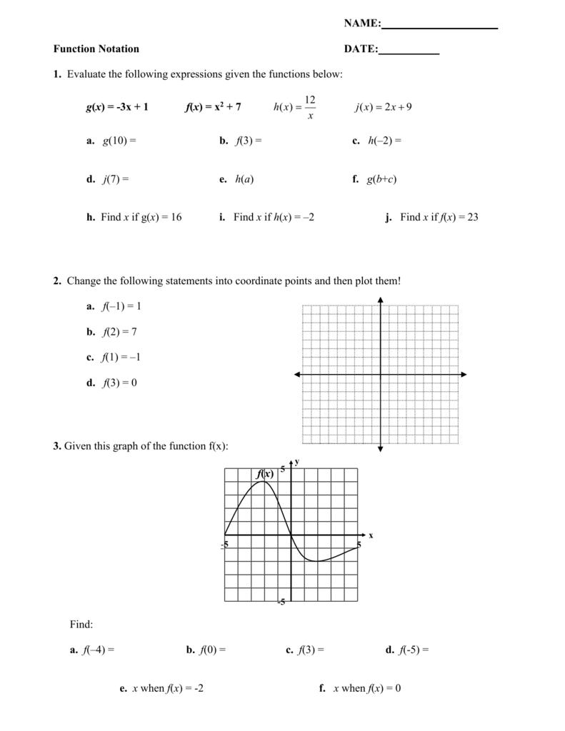 worksheet Function Notation Worksheet Answers function notation worksheet