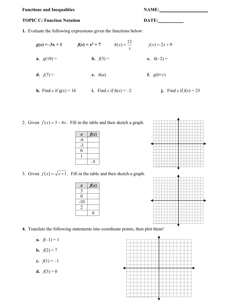 Algebra 1 Function Worksheets Worksheets for all | Download and ...