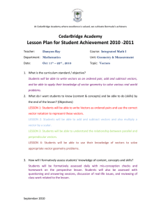 Vectors Lesson Plan