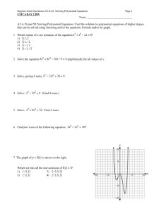 Regents Exam Questions A2.A.26: Solving Polynomial Equations