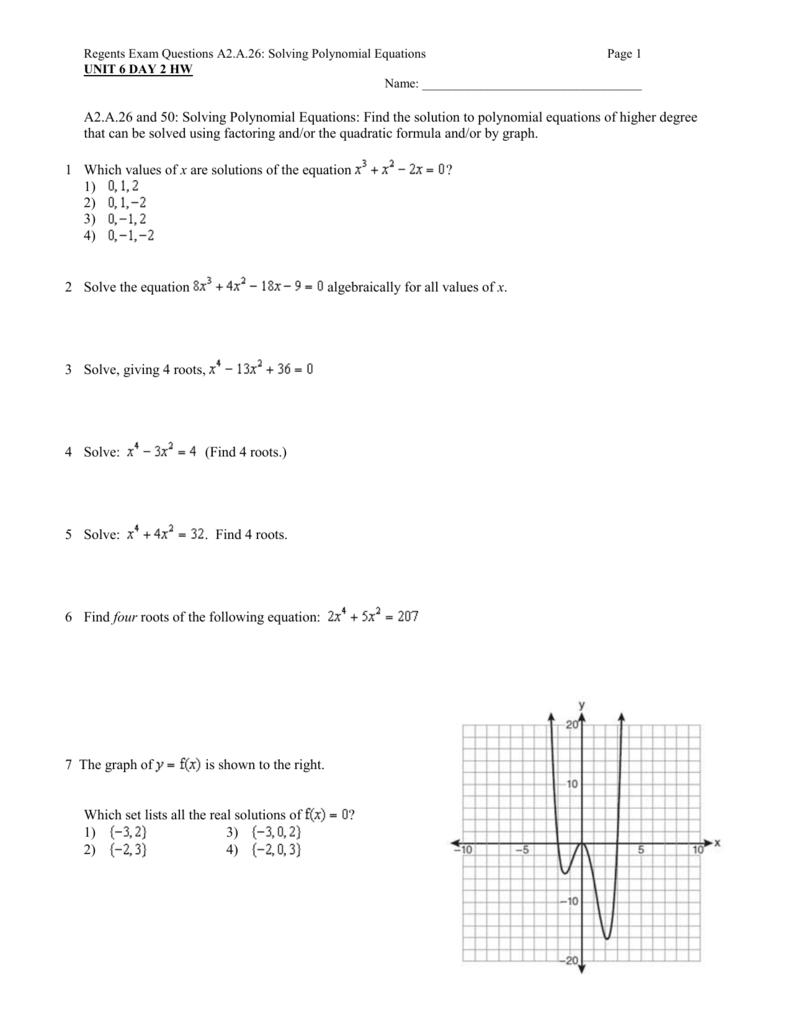 Regents Exam Questions A2A26 Solving Polynomial Equations – Solving Polynomial Equations Worksheet