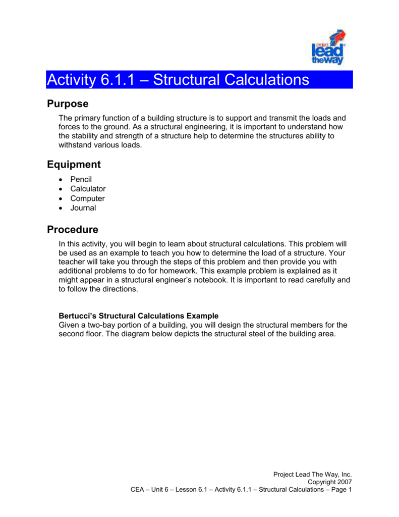 Activity 6 1 1 Structural Calculations