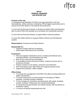 RIFCO ARTS – EXECUTIVE DIRECTOR JOB DESCRIPTION